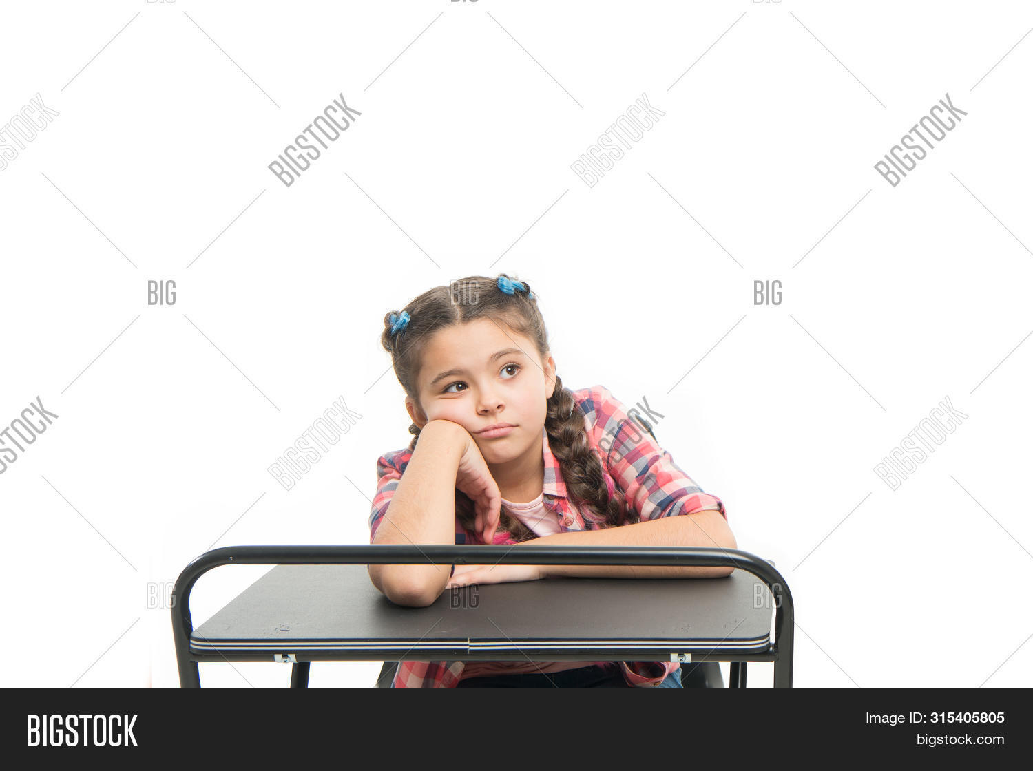 Boring lesson. Girl bored pupil sit at desk. Issues of formal education. Back to school concept. Kid cute tired of boring studying. Boring educational program. Need some rest and entertainment.