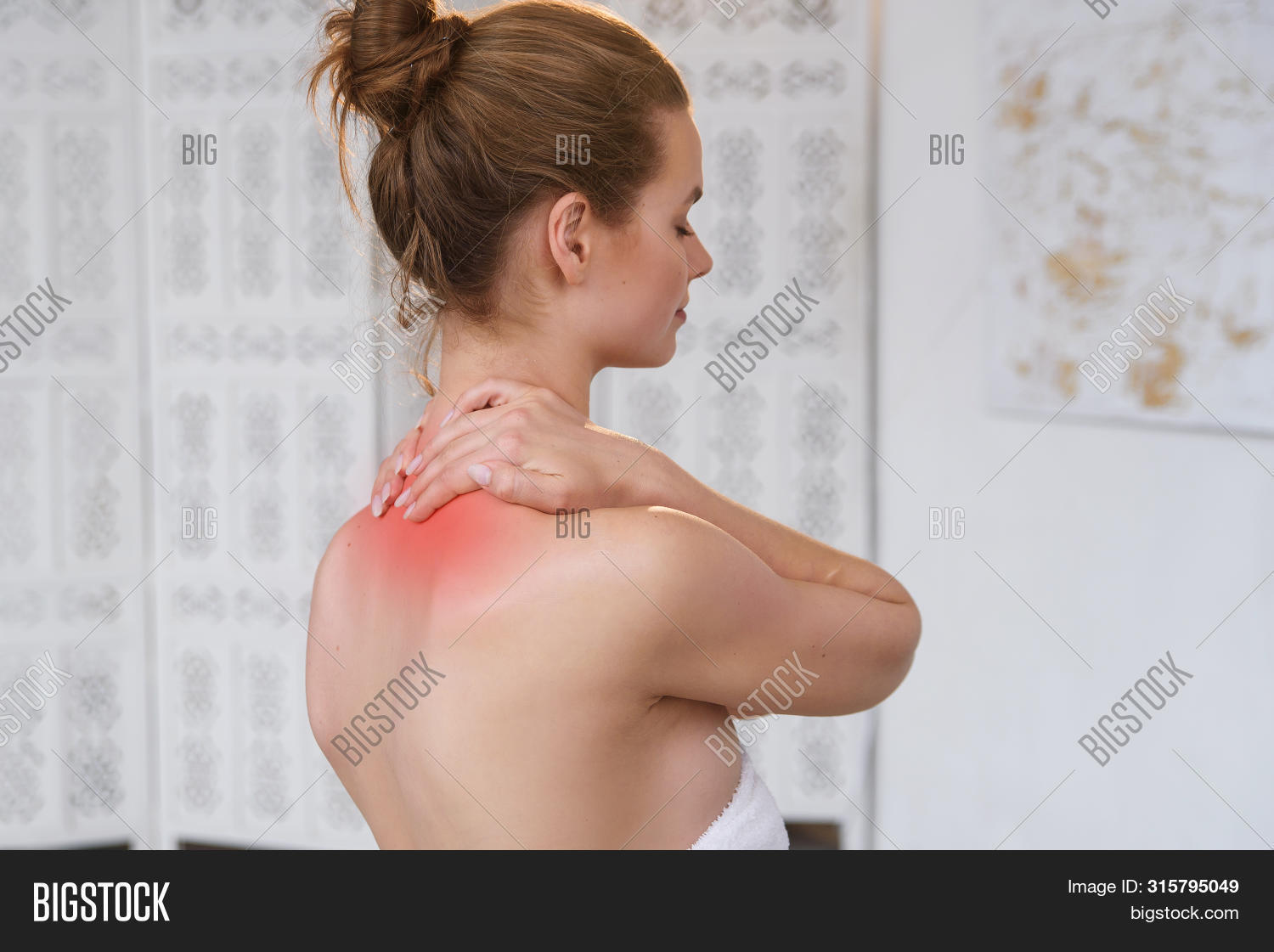 Beautiful Young Woman Has Neck Pain. Female Suffering From Painful Feeling In Muscles, Holding Hands