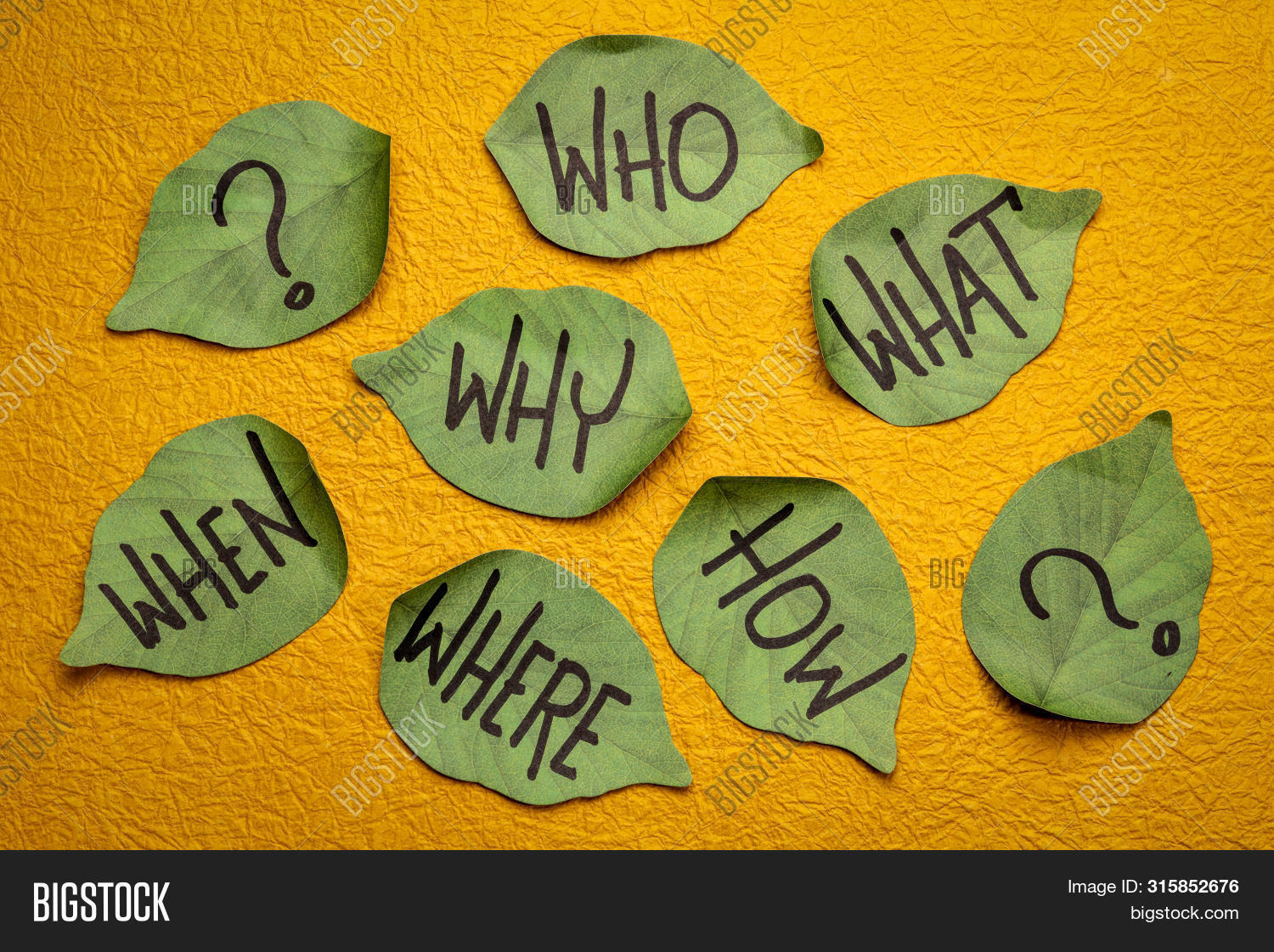 ask,brainstorm,brainstorming,business,concept,decision,decision making,education,green,handmade paper,handwriting,how question,leaf,leaf shaped,note,paper,plan,question mark,reminder,reminder note,sticky note,what question,when question,who,why,yellow