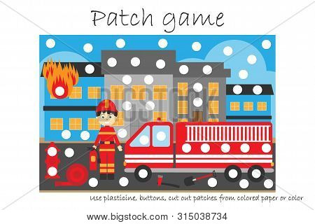Education Patch game fireman for children to develop motor skills, use plasticine patches, buttons, colored paper or color the page, kids preschool activity, printable worksheet, vector illustration stock photo
