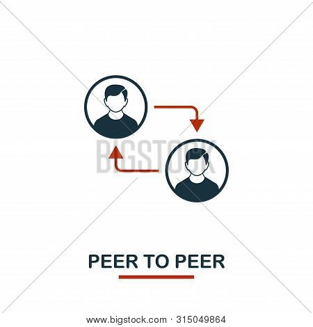 Peer To Peer icon. Creative two colors design from crypto currency icons collection. Simple pictogram peer to peer icon for web design, apps, software, print usage stock photo