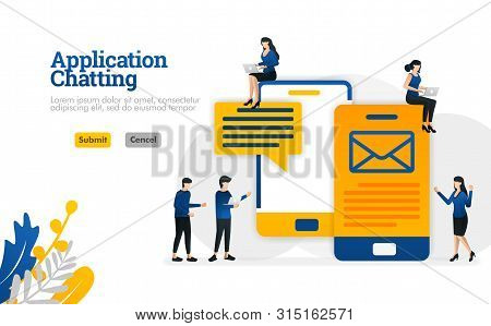 Chat and conversation applications for sending SMS and e-mail messages vector illustration concept can be use for, landing page, template, ui ux, web, mobile app, poster, banner, website stock photo