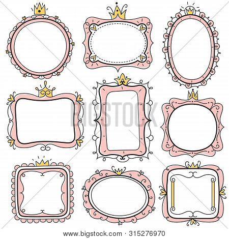 Princess Frames. Pink Cute Floral Mirror Frames With Crown, Kids Certificate Borders. Little Girl Bi