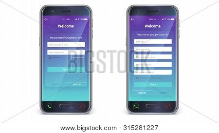 Smartphone, mobile phone isolated. UI design, account authorization or register, interface for touch screen mobile apps. Registration with personal data. UX Screen, vector 3d illustration stock photo