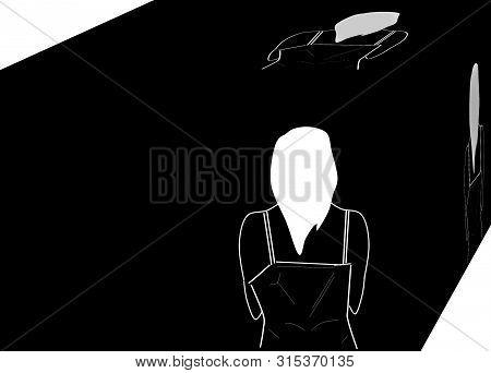 Depression.  Alone woman. Background. 3D illustration. Cubism. stock photo