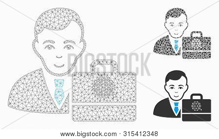 Mesh qtum accounter model with triangle mosaic icon. Wire frame triangular mesh of qtum accounter. Vector collage of triangle elements in variable sizes, and color shades. stock photo