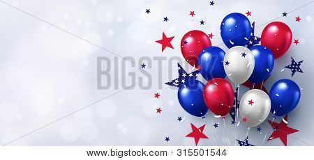 Festive design with helium balloons in national colors of the american flag and with pattern of stars on white background. USA greeting banner for sale, discount, advertisement, web. Place for text stock photo