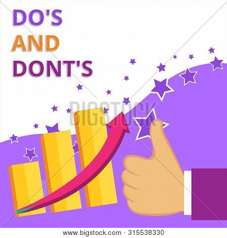 Text sign showing Do S Is And Dont S Is. Conceptual photo advising Rules or customs concerning some activity Thumb Up Good Performance Success Escalating Bar Graph Ascending Arrow. stock photo