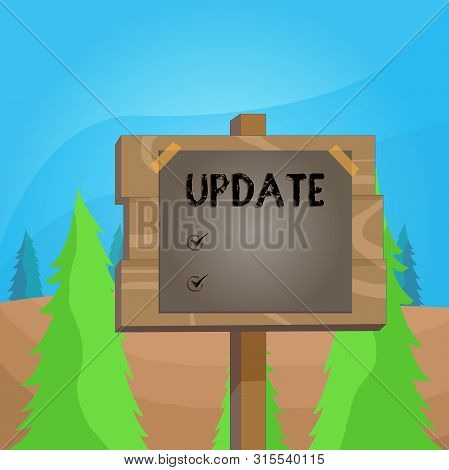 Word writing text UPDATE. Business concept for make something more modern or up to date like software program Wood plank wooden stick pole paper note attached adhesive tape empty space. stock photo