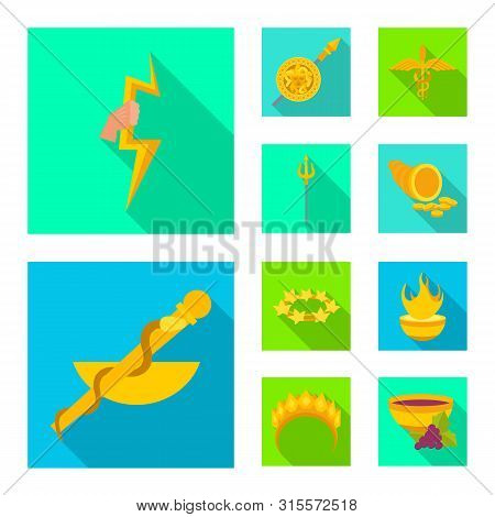 Isolated object of deity and antique icon. Collection of deity and myths vector icon for stock. stock photo
