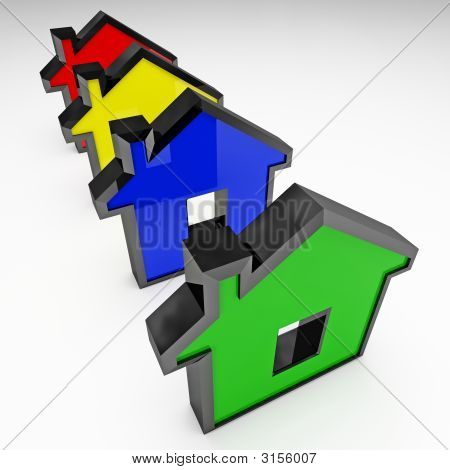 isolated illustration 3d business concept of house stock photo