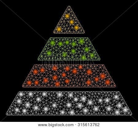 Glowing mesh pyramid with glow effect. Abstract illuminated model of pyramid icon. Shiny wire carcass triangular mesh pyramid. Vector abstraction on a black background. stock photo