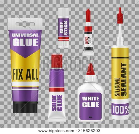 Glue package 3d mockups of adhesive stick, tubes and bottles. Vector super glue and silicone sealant, universal, white and shoes repair glue, branded plastic and metal packs on transparent background stock photo