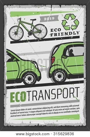 Eco transport vector design of ecology and environment friendly electric car, bicycle and green recycling symbol. Ecological vehicle retro poster stock photo