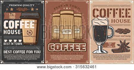 Coffee Drink Cups Vintage Design Of Coffee Shop, Cafe And Restaurant. Espresso Mug And Takeaway Cup