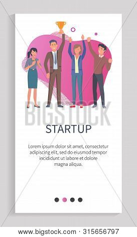 Successful startup team achieved prize vector, businessman holds trophy in hands colleagues happy for achievement and celebrating victory. Website or app slider template, landing page flat style stock photo