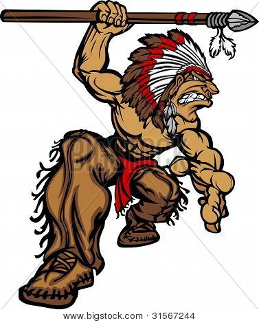 Cartoon Graphic of a native American Indian Chief Mascot holding a spear stock photo