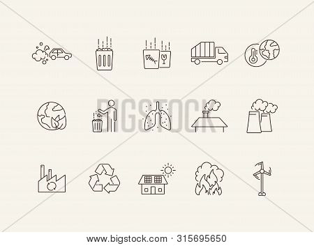 Environmental contamination icons. Set of line icons. Air pollution, planet contamination, greenhouse effect. Environment concept. Can be used for topics like environment, nature, industry stock photo
