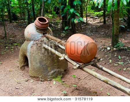 Ancient distiller for cashew fenny drink .Tropical spice plantation in Goa. India stock photo