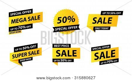 Sale tags collection. Special offer, big sale, discount, best price, mega sale banner set. Shop or online shopping. Sticker, badge, coupon, store. Vector Illustration. stock photo