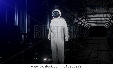 Alone astronaut in futuristic interior. Sci fi room view of the earth. 3d rendering. stock photo