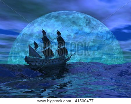 Flying dutchman boat floating on the ocean in front of a very big full moon by night stock photo