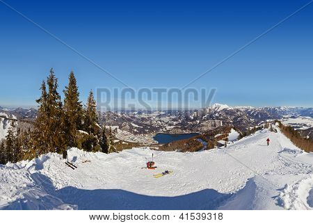 Mountains ski resort St. Gilgen Austria - nature and sport background stock photo