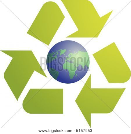 Recycling eco symbol illustration of three pointing arrows with world globe map stock photo