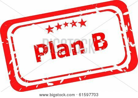 Grunge rubber stamp with word Plan B stock photo