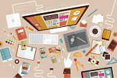 Set of Flat Design Icons. Cellular Phones, Tablet PC, Marketing Technologies, Mobile Apps, Email, Vi