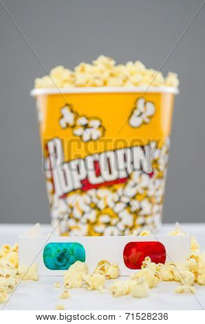 image of popcorn and 3d glasses on table stock photo