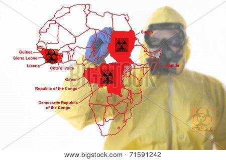 A man wearing full biological suite drawing the map of Africa