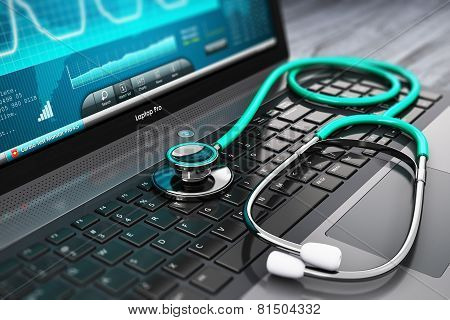Laptop with medical diagnostic software and stethoscope