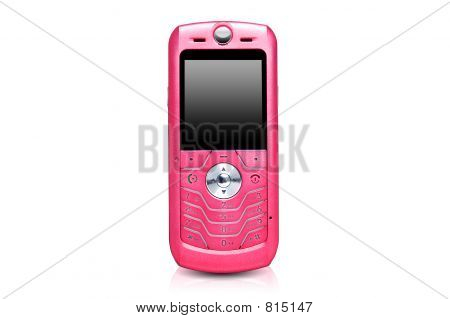Pink cell phone over white background stock photo