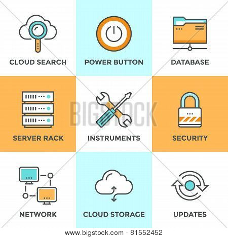 Cloud Computing Line Icons Set