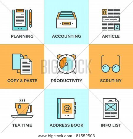 Line icons set with flat design elements of office accounting and clerk working routine business planning paperwork routine personal time management. Modern vector pictogram collection concept. stock photo