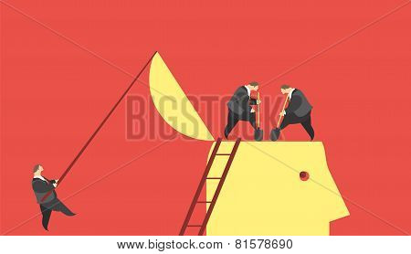 business concept of residence in the brains of young people metaphor delve into the minds of others stock photo