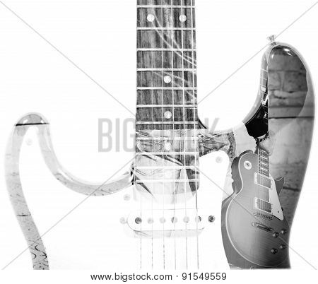 back view of a man holding a guitar and guitar silhouette in double exposure in black and white stock photo