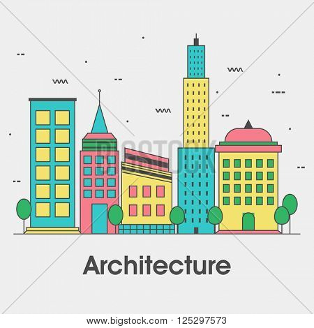 Modern flat style illustration of Architecture Engineering Construction and Building Planning.One page Web Design template, Hero Image concept, Website Elements layout. stock photo