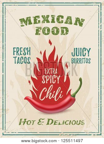 Extra spicy chili paper with fire, on grunge background. Template for restaurant, cafe, bar or fast food poster, brochure or flyer. Vector illustration. stock photo