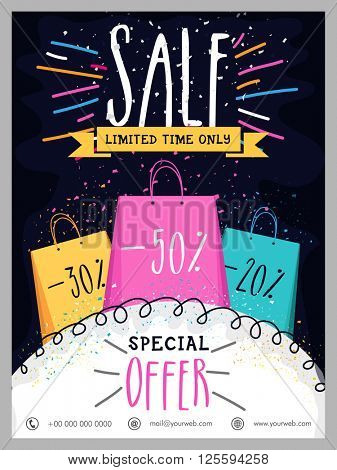 Limited Time Sale Poster, Sale Banner, Sale Flyer, Special Discount Offers.Creative illustration with colorful shopping bags. stock photo