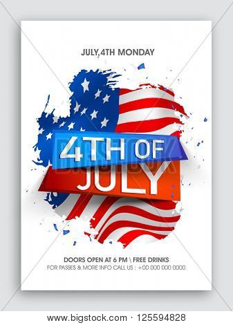 Stylish text 4th of July on American Flag design background, Creative Pamphlet, Banner or Flyer for