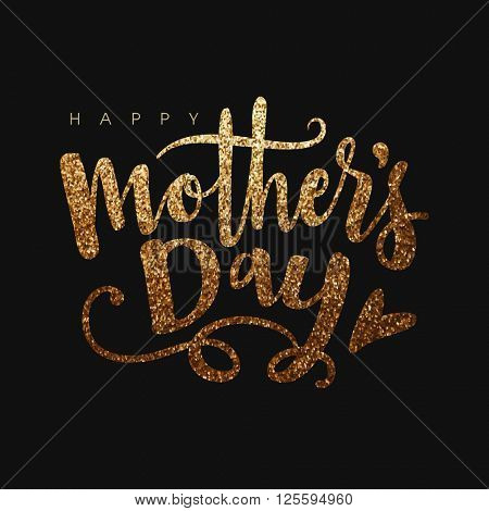 Beautiful golden glittering text Happy Mother\'s Day on black background.