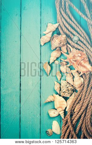 Concept Of The Summer Time With Sea Shells On The Wooden Blue Background-Lg Fridge Magnet Skin (size 36x65)