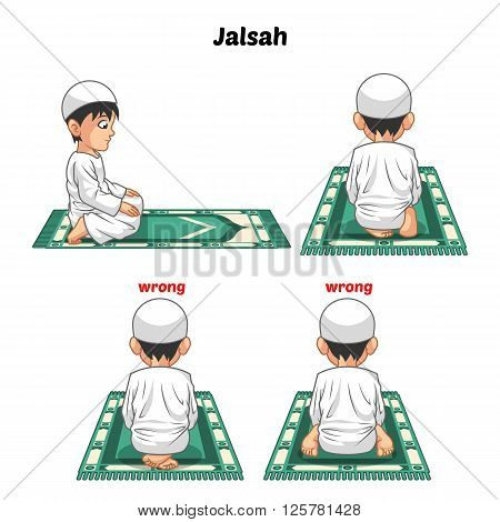Muslim prayer position guide step by step perform by boy sitting between the two prostrating or jalsah and position of the feet with wrong position