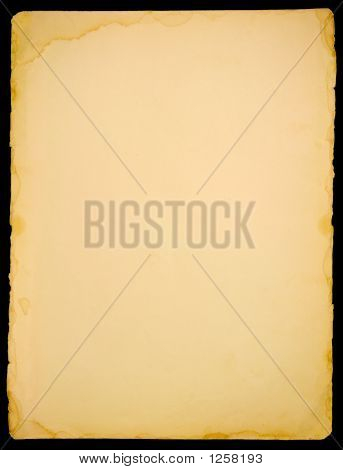 vintage paper isolated on the black background stock photo