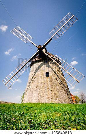 Historic windmill in the Czech countryside, Kuzelov, Bile Karpaty (The White Carpathians). stock photo