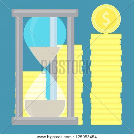 Time is money. Hourglass with coin golden stock. Time and time management money clock and save time clock money and hourglass money financial gold stock concept. Vector flat design illustration