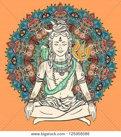 Ornament beautiful card with God Shiva. Illustration of Happy Maha Shivaratri. Mahashivaratri festival. Hinduism in India. Mediation, Shiva represents the cosmic consciousness, the masculine universe stock photo