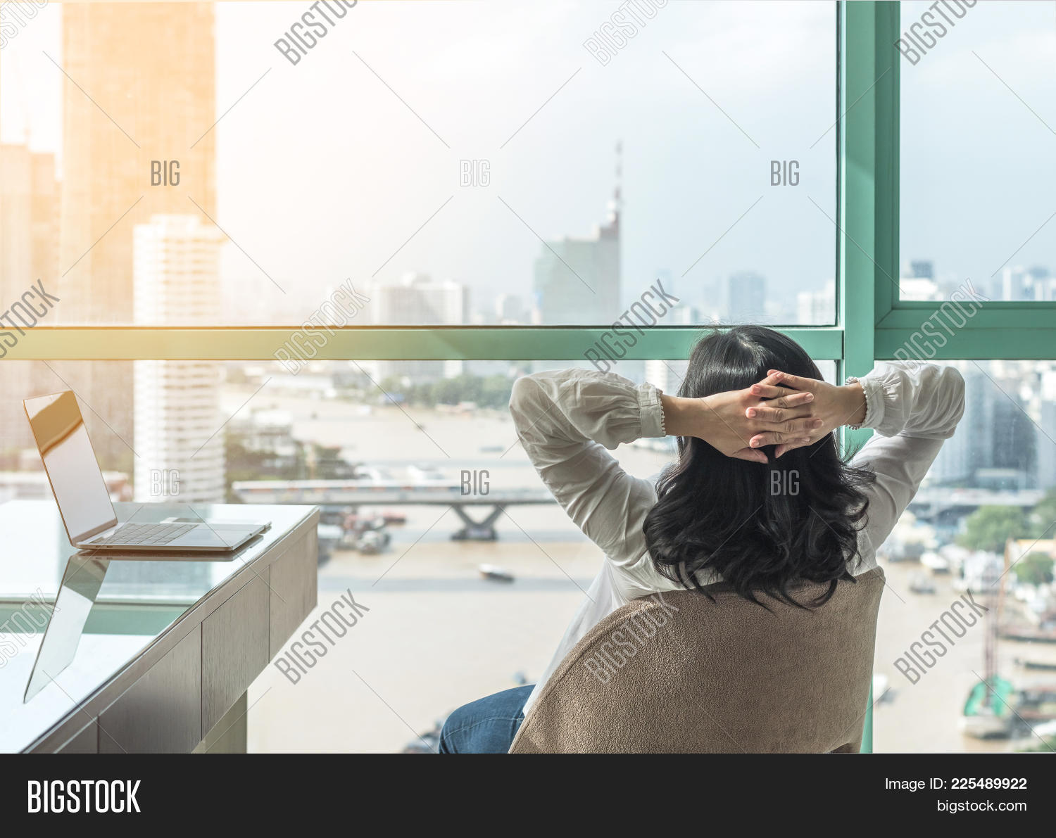 Life-work Balance And Carefree Mental Health Concept With Woman Take It Easy Working And  Resting In